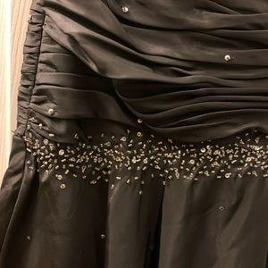 Black Silver Sequin Mermaid Corset Gown